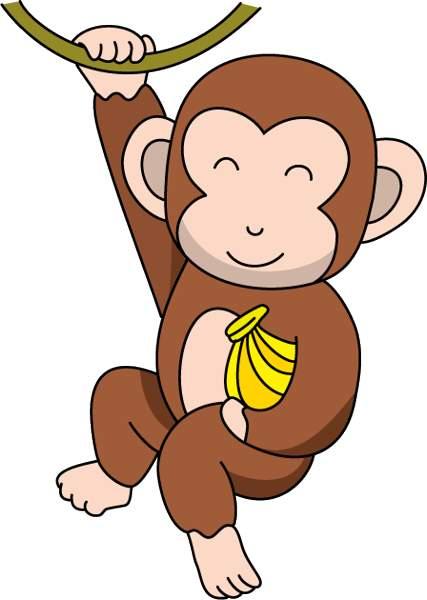 427x600 Monkey banana clipart clipart