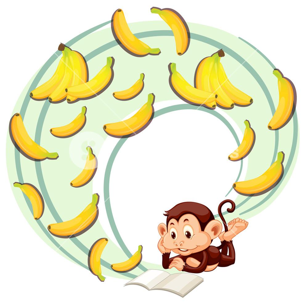 1000x988 Monkey reading about banana illustration Royalty Free Stock Image