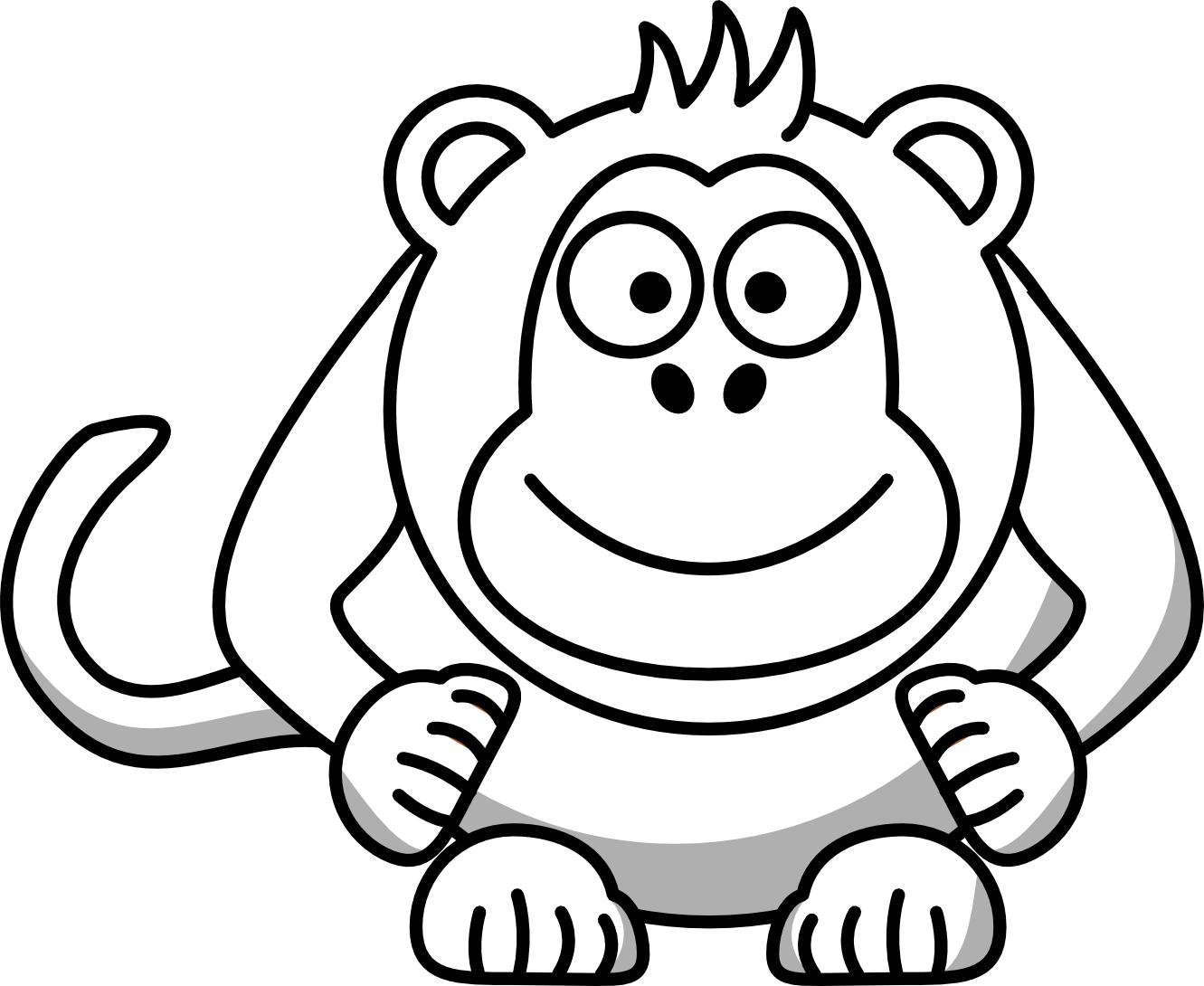 1331x1090 Monkey Clip Art Black And White Clipart Panda