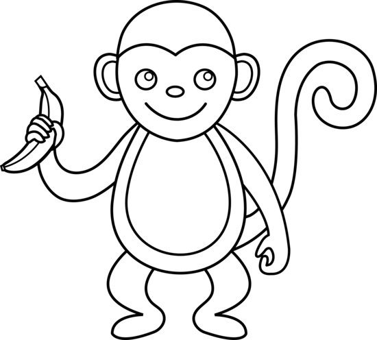 550x496 Monkey Clipart Black And White