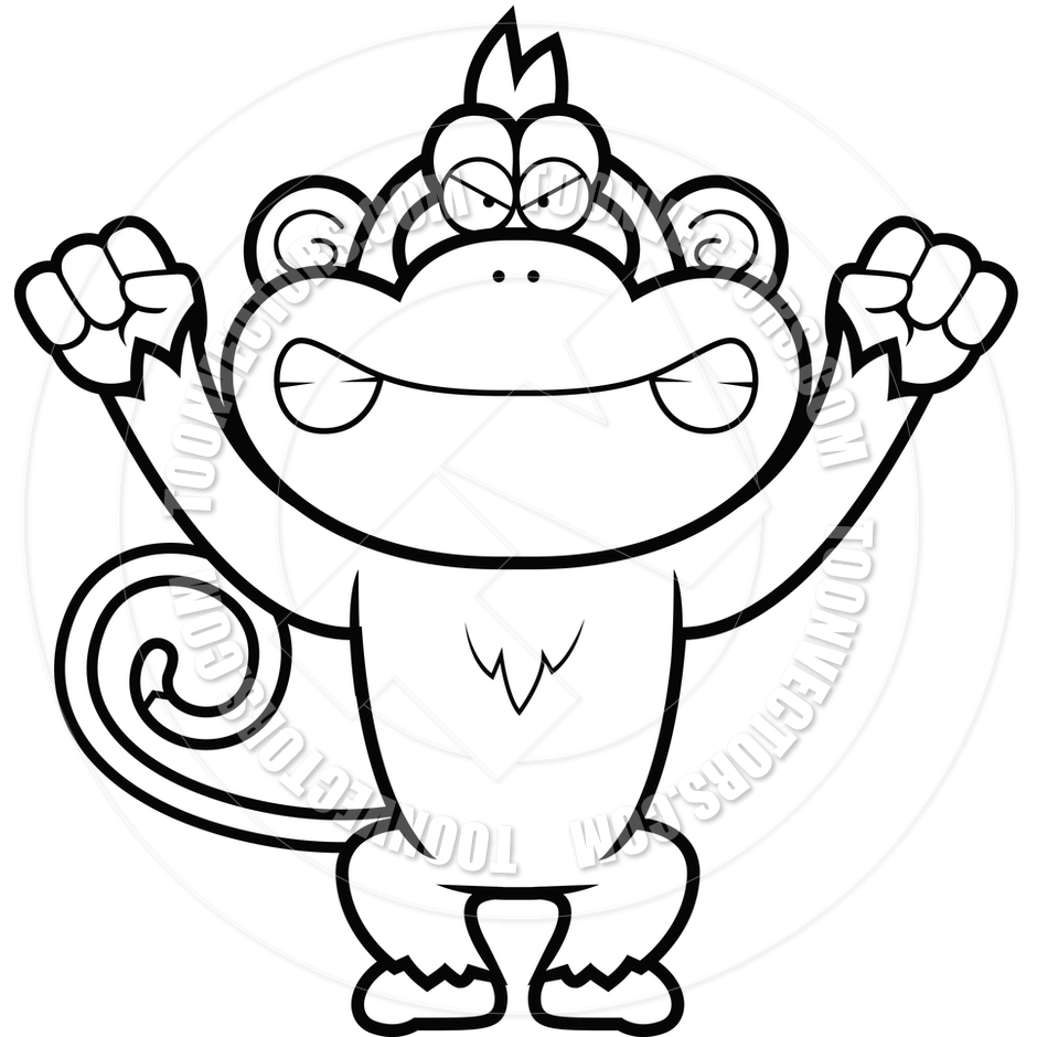 940x940 Angry Cartoon Monkey (Black And White Line Art) By Cory Thoman