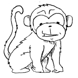 300x300 Monkey Black And White Monkey Clip Art Black And White Free