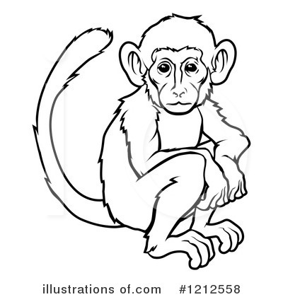 400x420 Year Of The Monkey Clipart Black And White