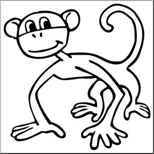 304x304 Clip Art Cartoon Monkey Bampw I Abcteach