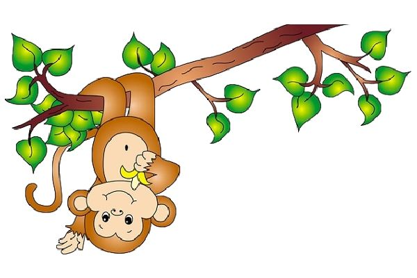600x400 Monkey On A Vine Cartoon Clip Art