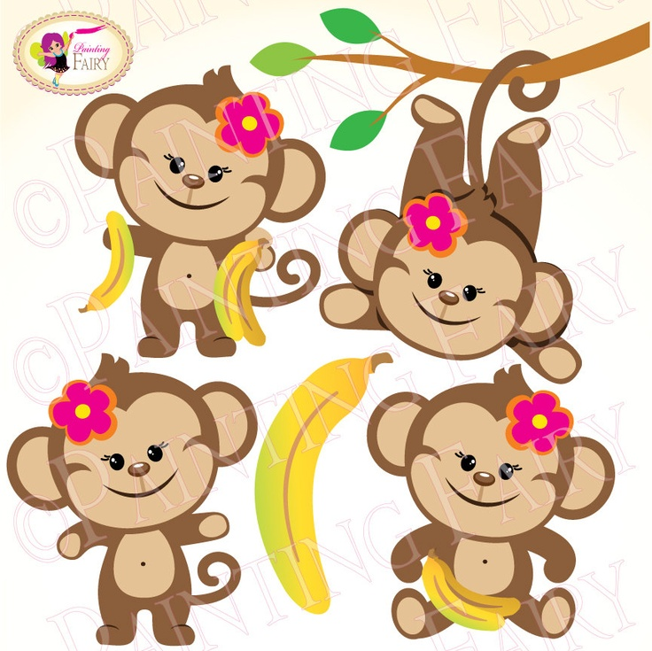 736x735 Monkey Girl Clipart