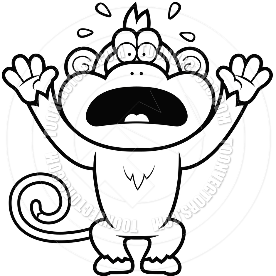 940x940 Cartoon Monkey Panicking (Black and White Line Art) by Cory Thoman