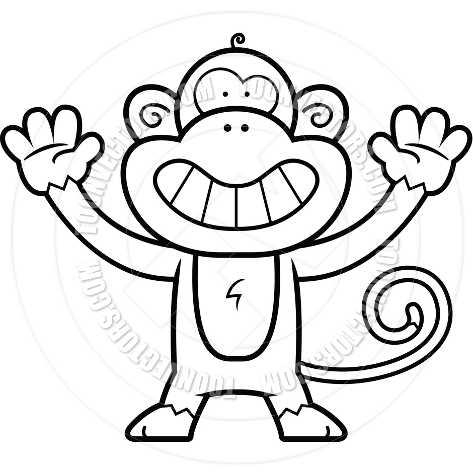 940x940 Monkey Smiling (Black and White Line Art) by Cory Thoman Toon