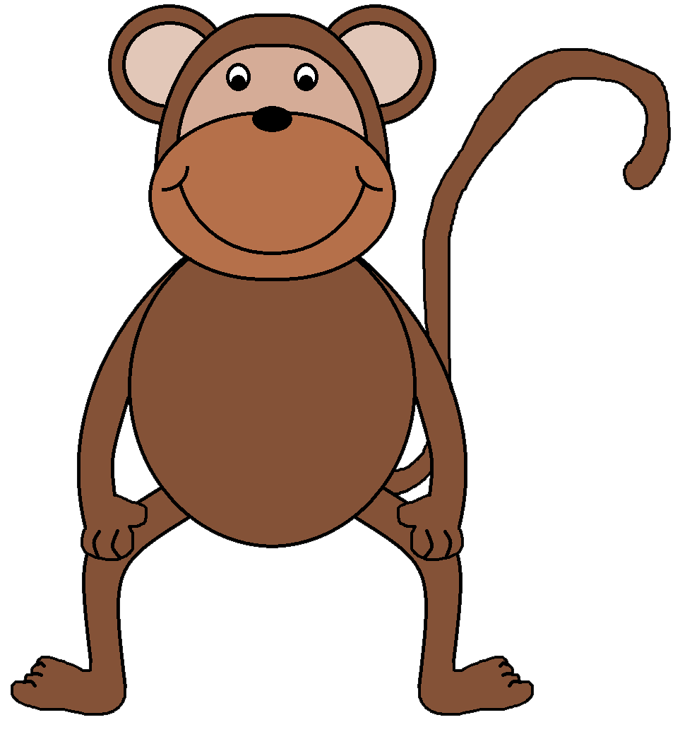 963x1036 Monkey clipart black and white free images
