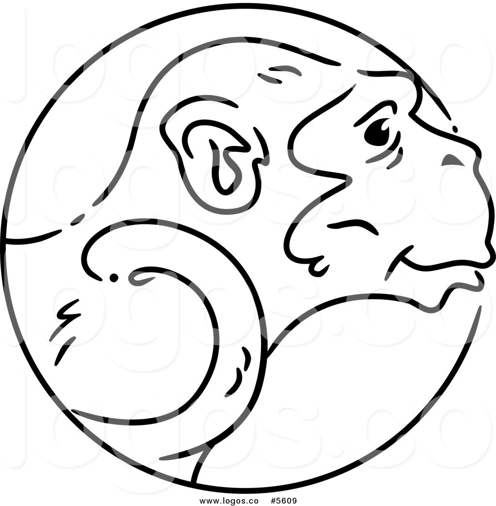 1024x1044 Royalty Free Vector of a Logo of a Black and White Chinese Zodiac