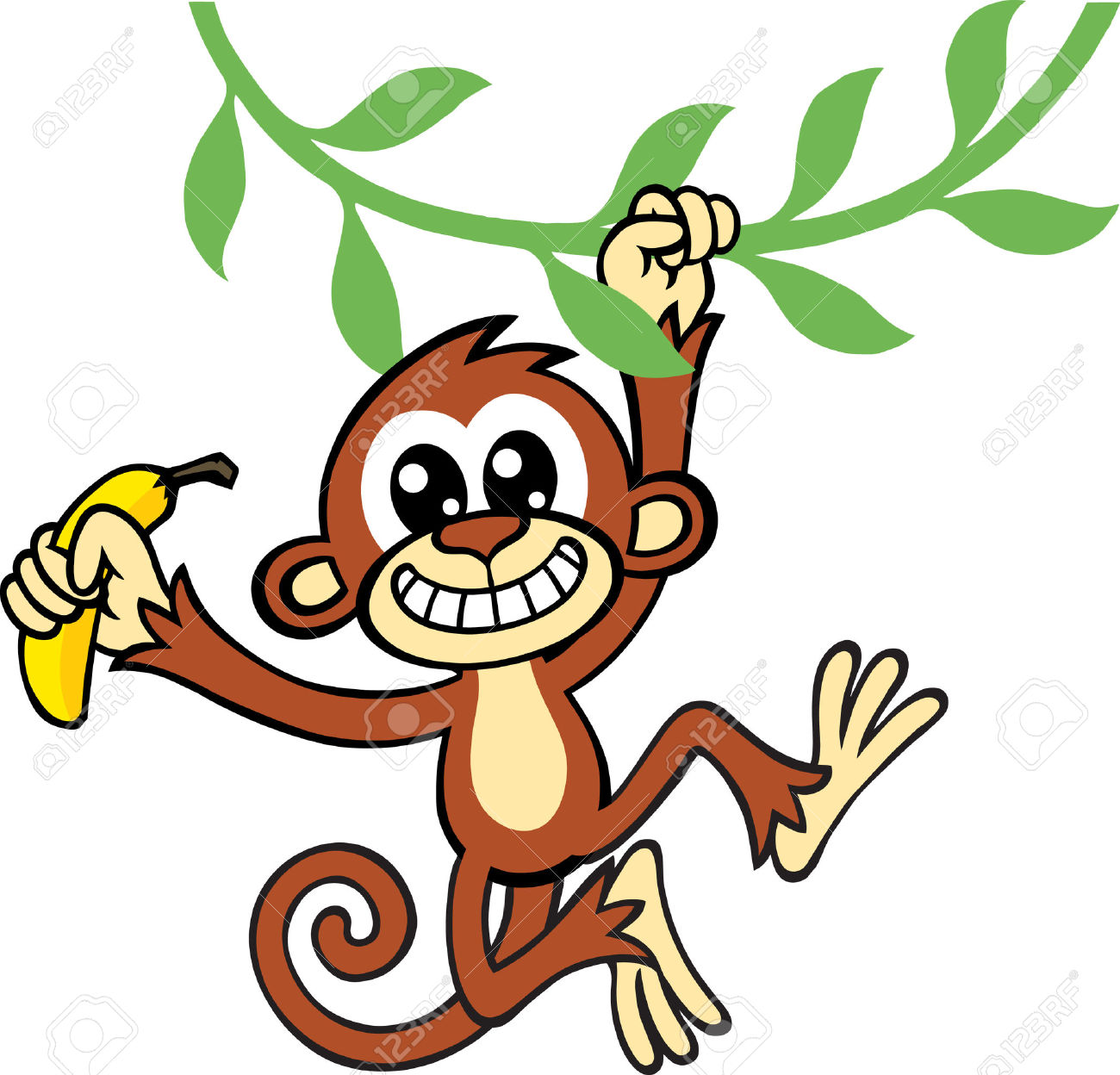 1300x1248 Free clipart + monkey + banana