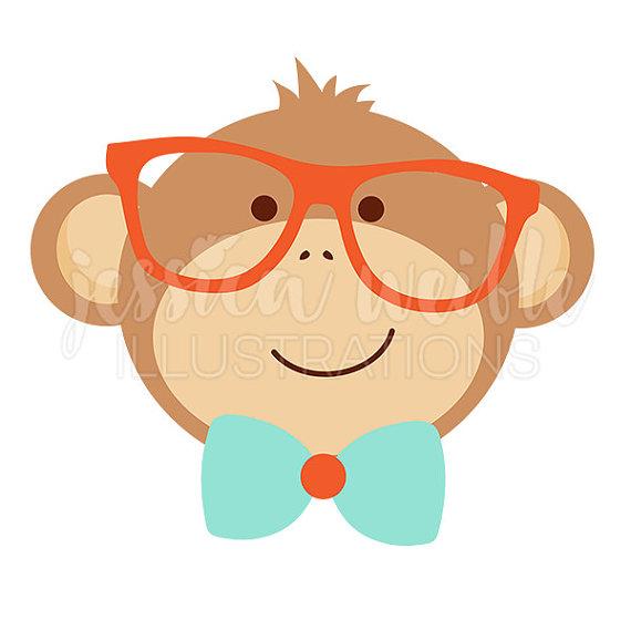 570x570 Nerdy Monkey Clip Art, Cute Digital Clipart, Geek Clip art, Baby