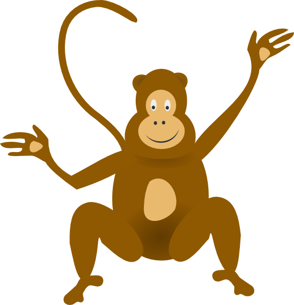 576x598 Upside down hanging monkey clipart free clipart 2 clipartix