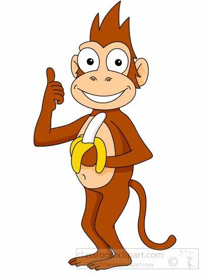 411x550 Free Monkey Eating Banana Clip Art