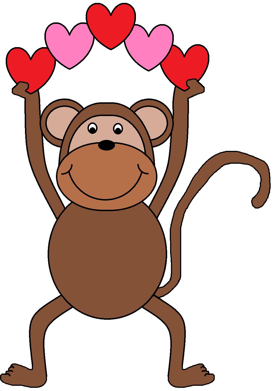 952x1361 Clipart Monkey Valentine