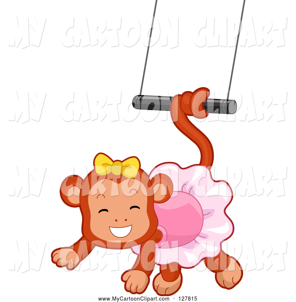 1024x1044 Clip Art of a Circus Monkey Ballerina Swinging from a Trapeze by