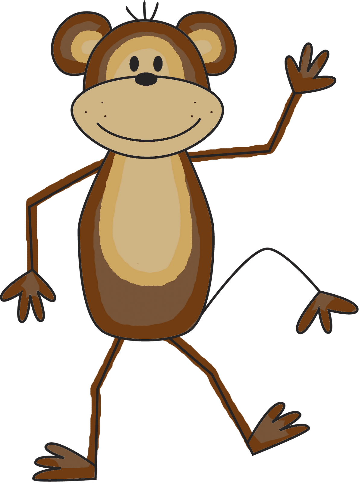 1191x1600 Cute Monkey Clip Art Black And White Free