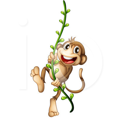400x420 Monkey Swinging On A Vine Clip Art