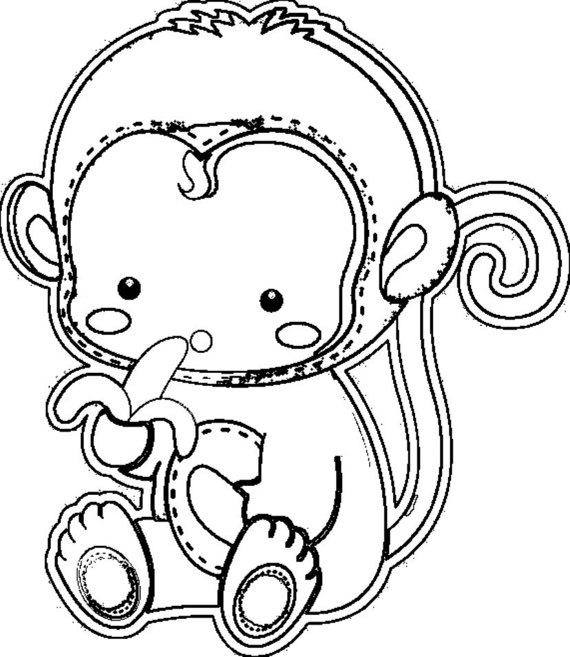 828x953 Cute Monkey Coloring Pages For Kids Printable Animal Coloring