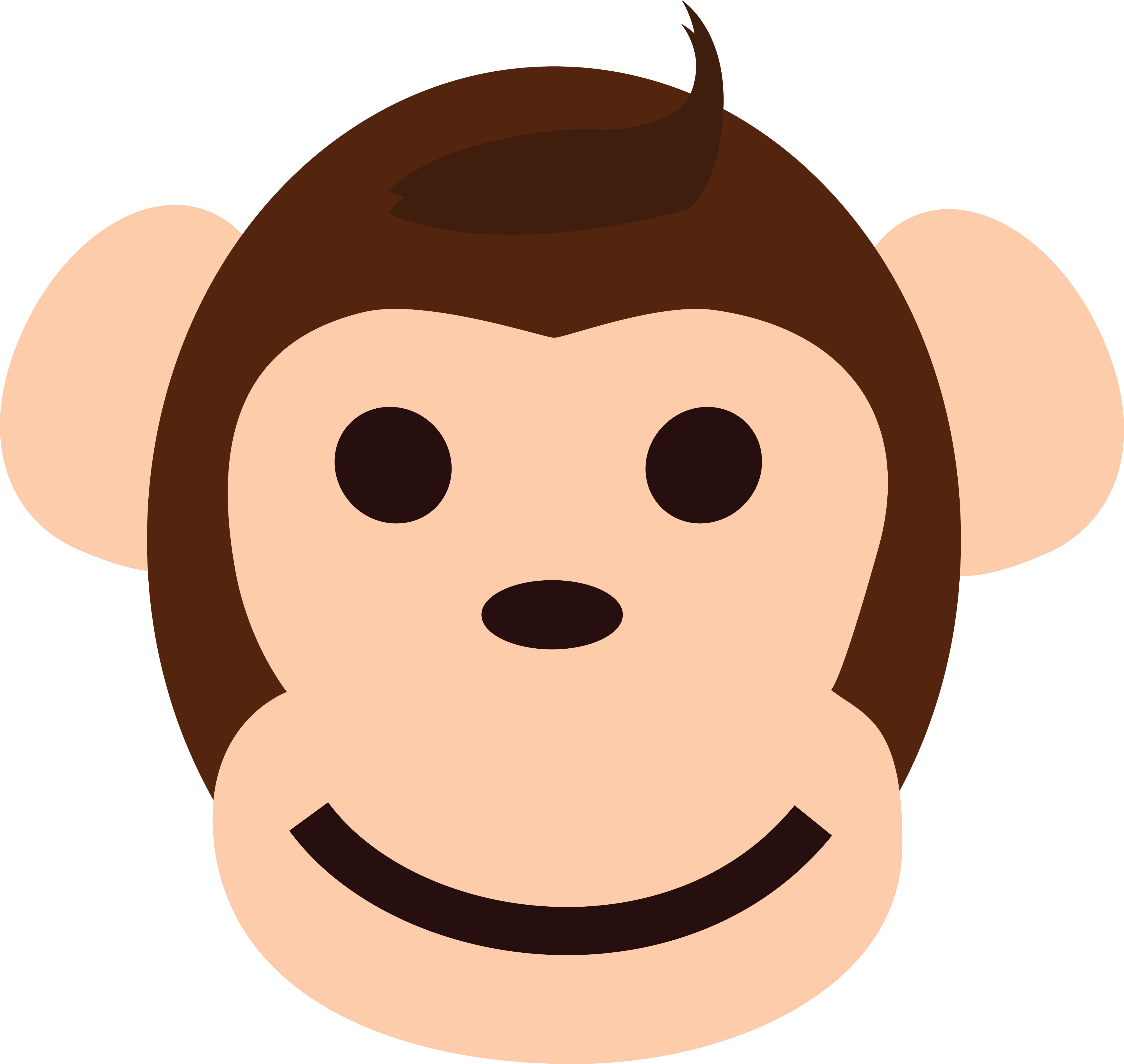 4000x3786 Clipart Of A Happy Monkey Face