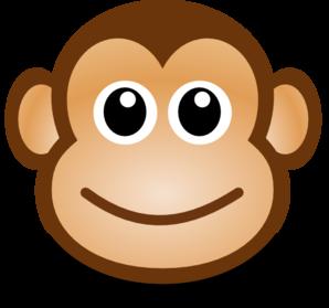 298x279 Happy Monkey Face Clip Art