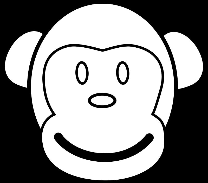 800x703 Monkey Line Art Free Vector 4vector