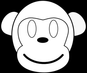 298x252 Monkey Outline Happy Clip Art
