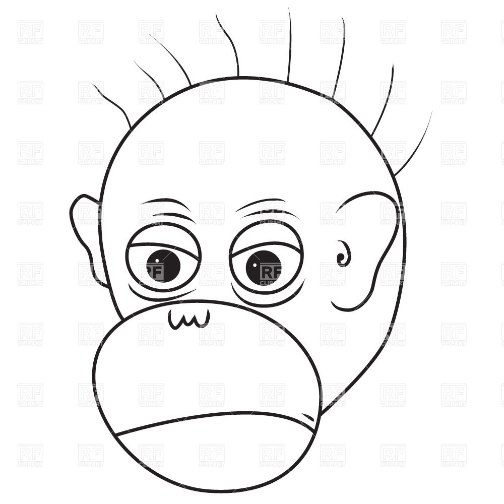 1000x1000 Angry Monkey Face Royalty Free Vector Clip Art Image