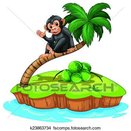 450x449 Clipart of A monkey above the coconut tree k23863734