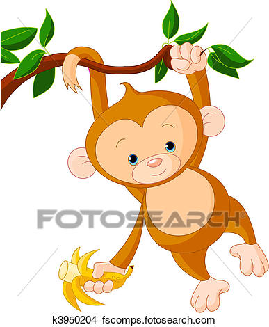 387x470 Clipart of Baby monkey on a tree k3950204