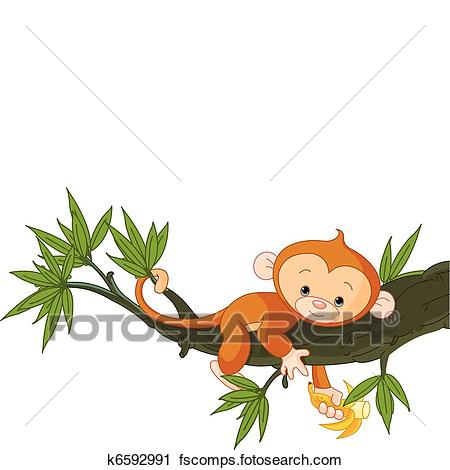 450x470 Clipart of Baby monkey on a tree k6592991