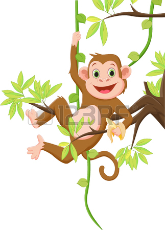 323x450 Cute Monkey Hanging On A Tree And Holding Banana Royalty Free