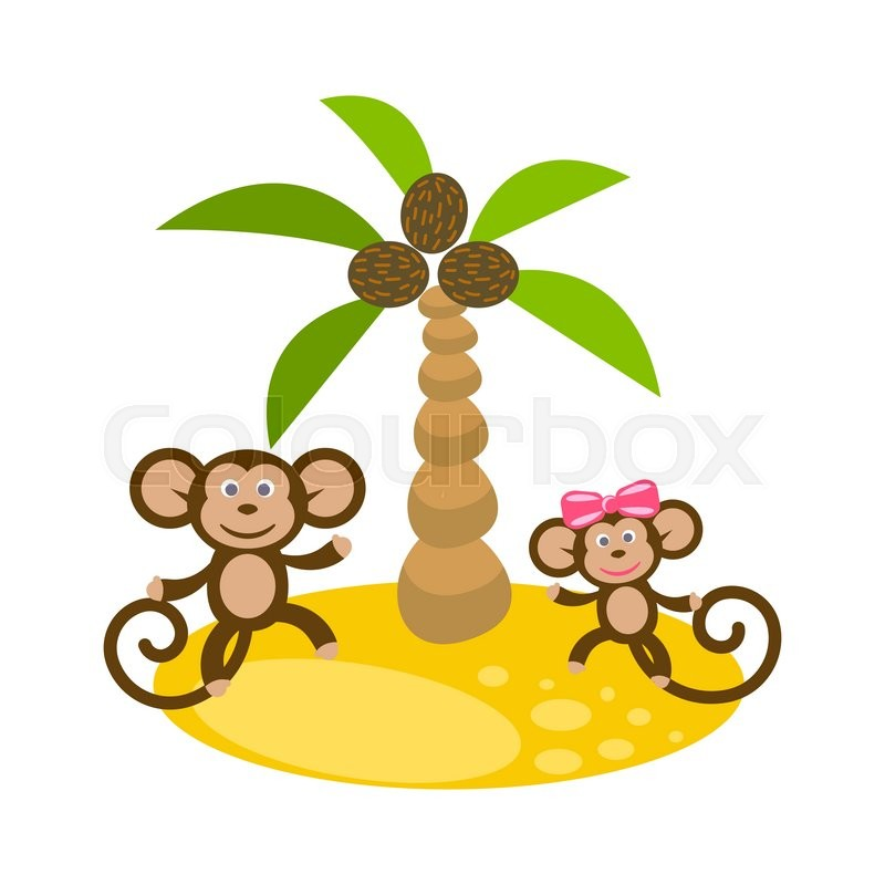 800x800 Dancing monkey couple near coconut palm tree clip art. Kid tshirt