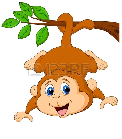 397x450 Monkey Hanging On Tree Branch Royalty Free Cliparts, Vectors, And