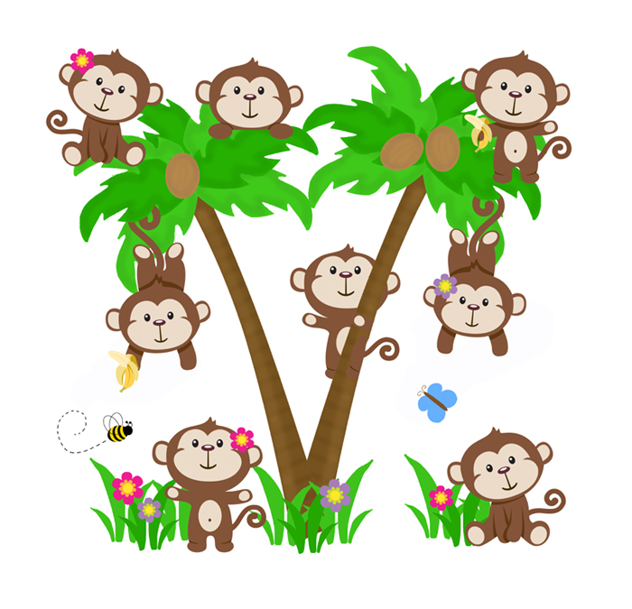 700x675 Monkey Palm Tree Decal Wall Art Safari Animal Nursery Decor [1057