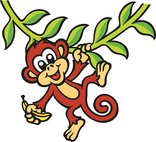 612x557 Monkey Swinging In A Tree Clipart