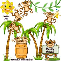 236x236 Monkey on a vine Cartoon Clip Art Classroom Decor