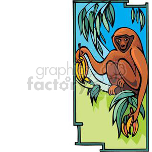 300x300 Royalty Free monkey in a banana tree 380038 vector clip art image
