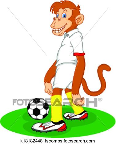 377x470 Clip Art Of Monkey Cartoon Playing Soccer Ball K18182448