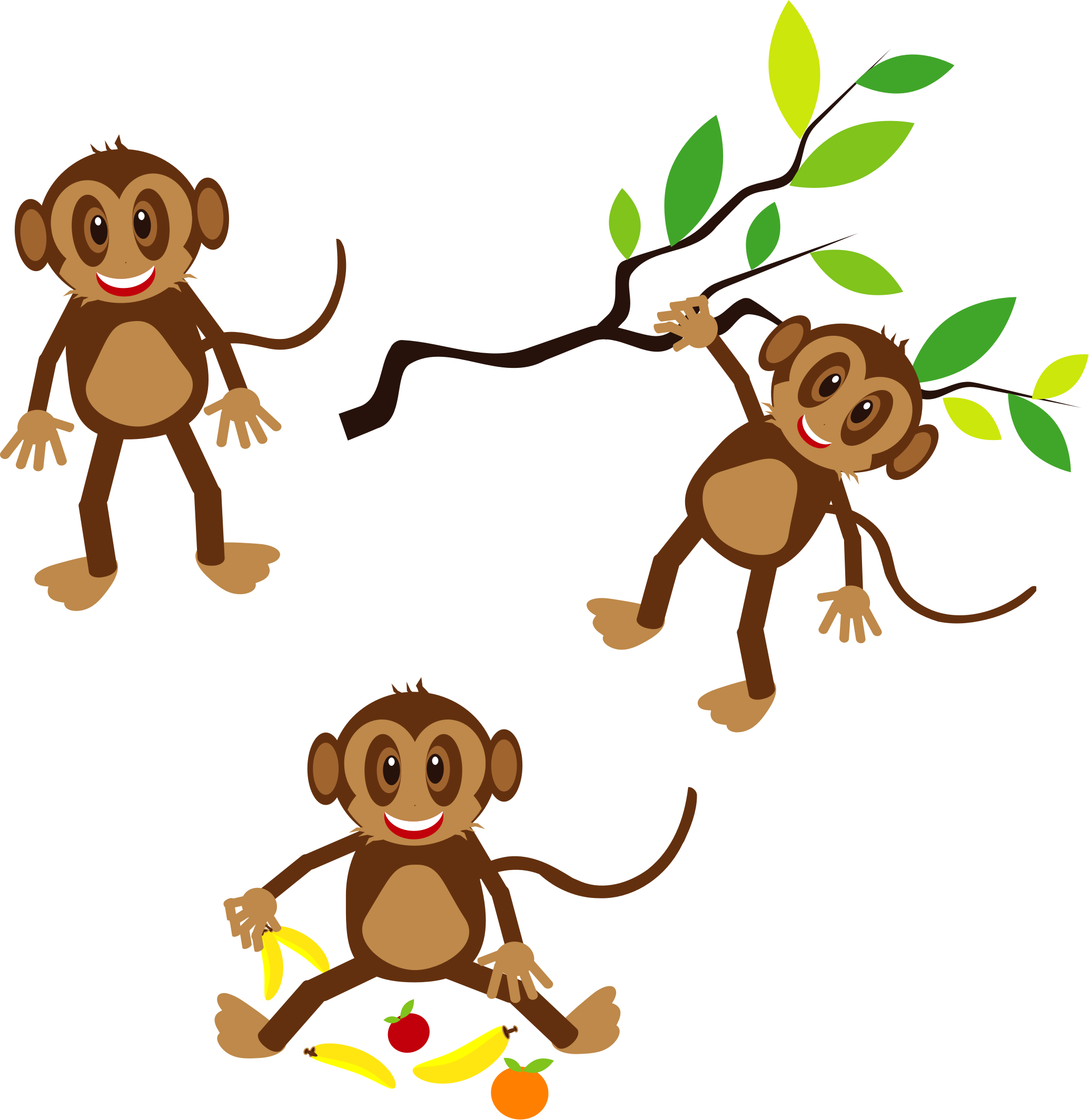 2068x2128 Forest Monkeys Clipart