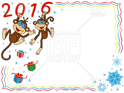 400x300 Frame 2016 With Two Funny Monkeys Royalty Free Vector Clip Art