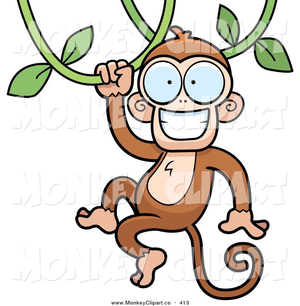 1024x1044 Monkey On Vine Clipart