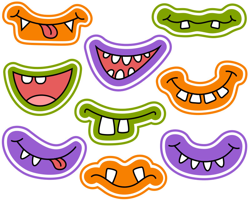 800x640 Halloween Monster Grins Digital Clip Art, Cute Monster Smiles