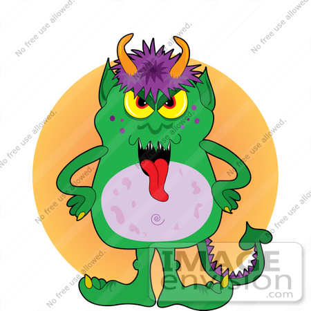 450x450 Clip Art Graphic Of A Red Tongued Green Monster With Purple Hair