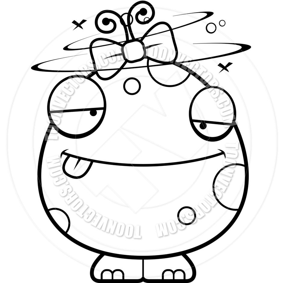 940x940 Cartoon Baby Girl Alien Monster Drunk (Black And White Line Art