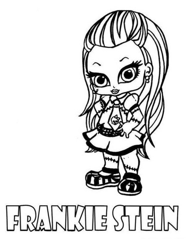 600x770 Frankie Stein Little Girl Monster High Coloring Page