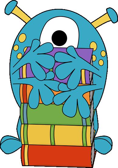388x550 Four Arm Monster Hugging Books Clip Art
