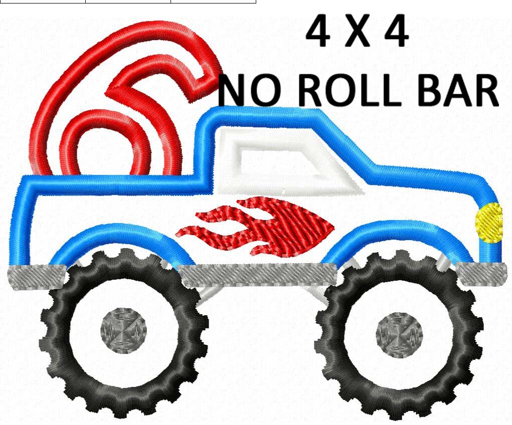 1021x848 Monster Truck Number Set 1 6 Applique Creative Appliques