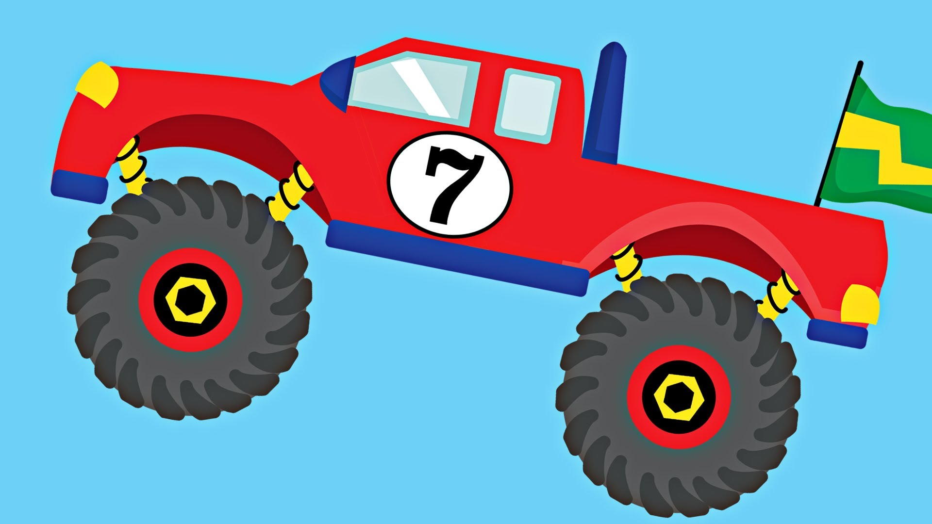 1920x1080 Monster Trucks Teaching Numbers 1 To Number Counting For Kids