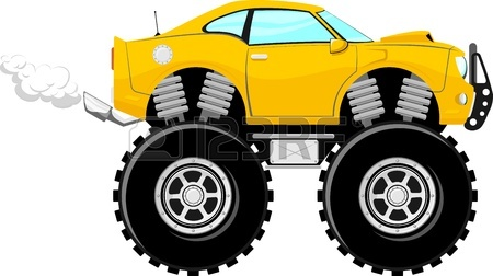 450x252 Monstertruck Race Car 4x4 Cartoon Isolated On White Background